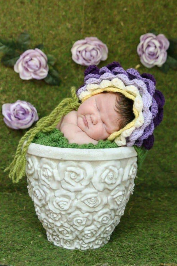 Flower Crochet Bonnet Hat by Briana K Designs