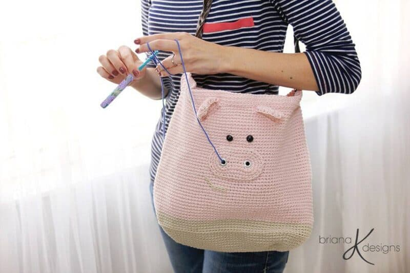 Pig Crochet Project Bag by Briana K Designs