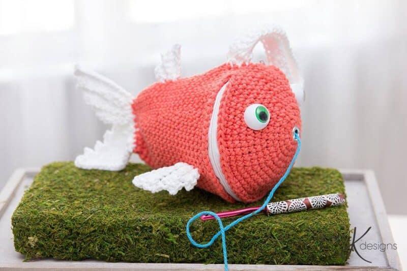 Fish Crochet Wristlet Yarn Holder Bag by Briana K Designs