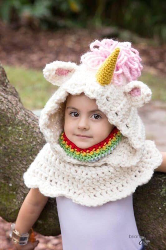 Unicorn Crochet Hooded Cowl by Briana K Designs