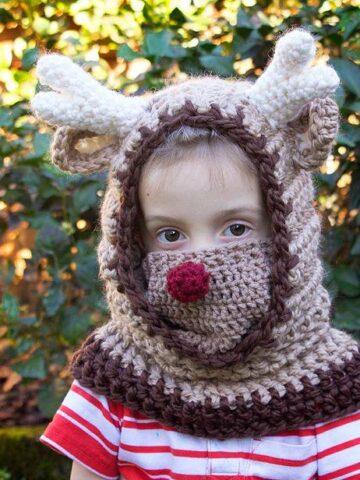 Reindeer Hooded Crochet Cowl by Briana K Designs