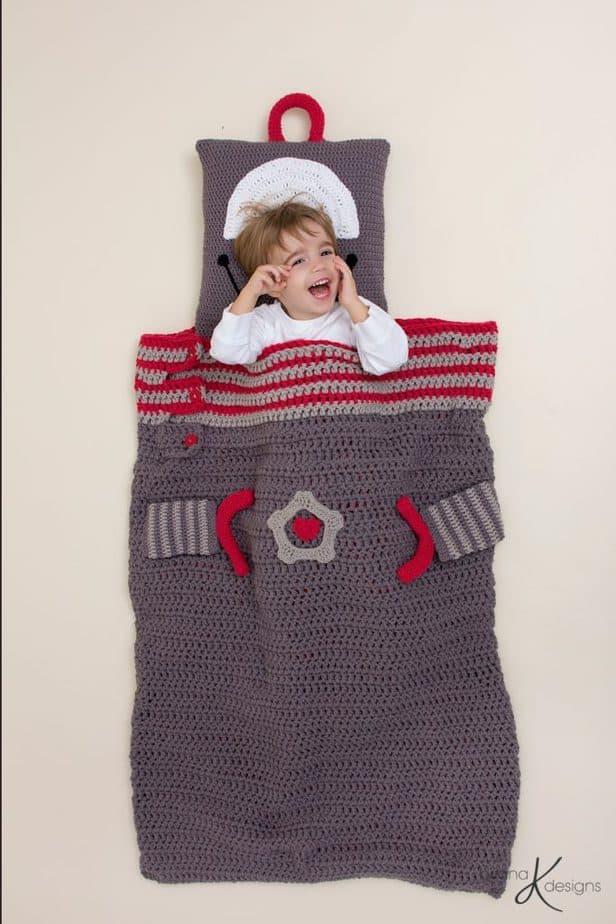 Robot Crochet Sleeping Bag by Briana K Designs