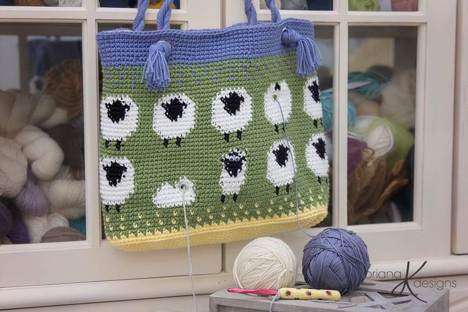Sheep Crochet Lamb Project Bag by Briana K Designs