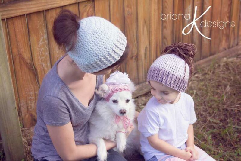 Messy Bun Crochet Pony Tail Hat plus Puppy by Briana K Designs