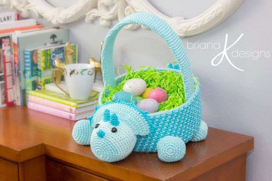 Dinosaur Crochet Easter Basket