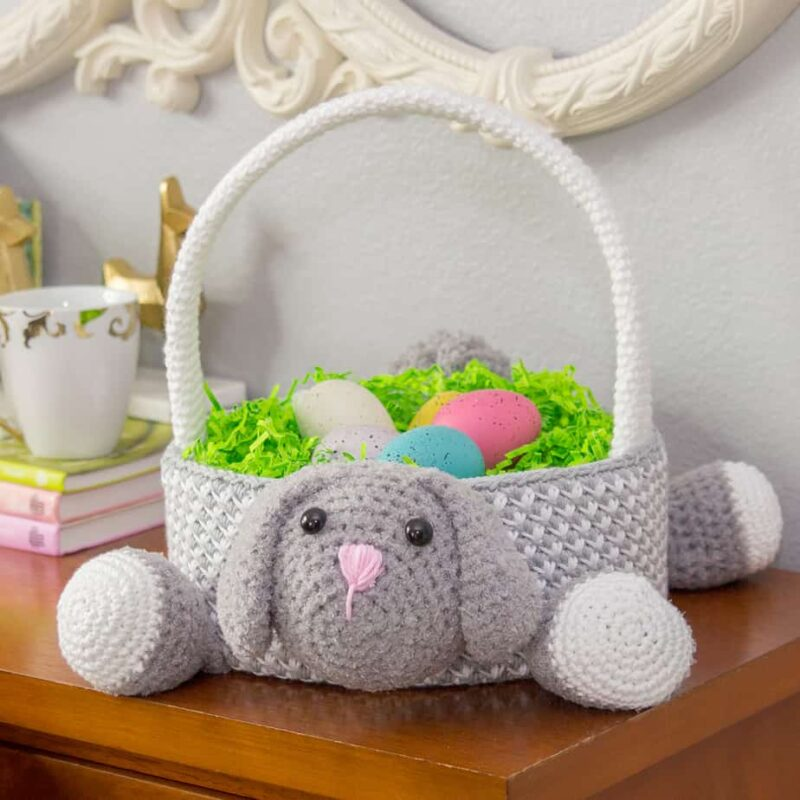 bunny easter basket crochet pattern