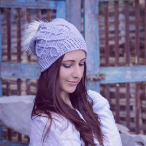 A girl in a crochet hat
