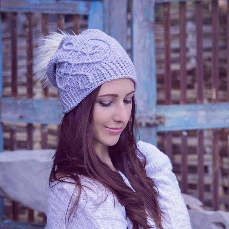 A girl in a crochet hat