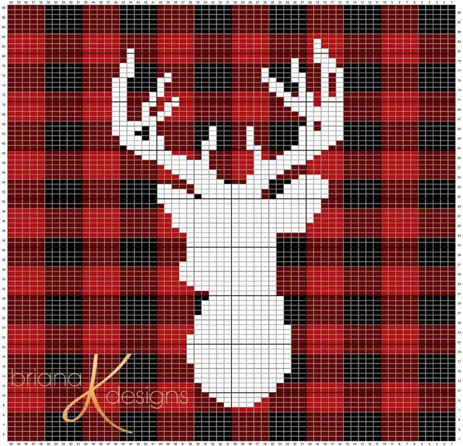 Farmhouse Plaid Deer Knit Pillow Cover Briana K Designs