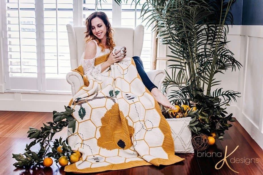 Buzzing Beehive Blanket Crochet Pattern by Briana K Designs