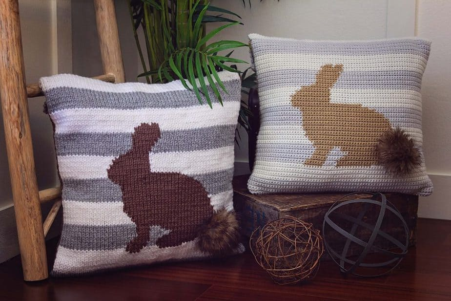 Fluffy Bunny Pillow Cover by Briana K Designs Free Crochet Pattern