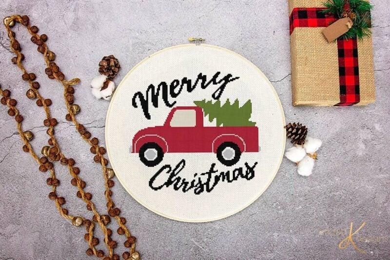 Merry Christmas Truck Merry Christmas Cross Stitch by Briana K Designs