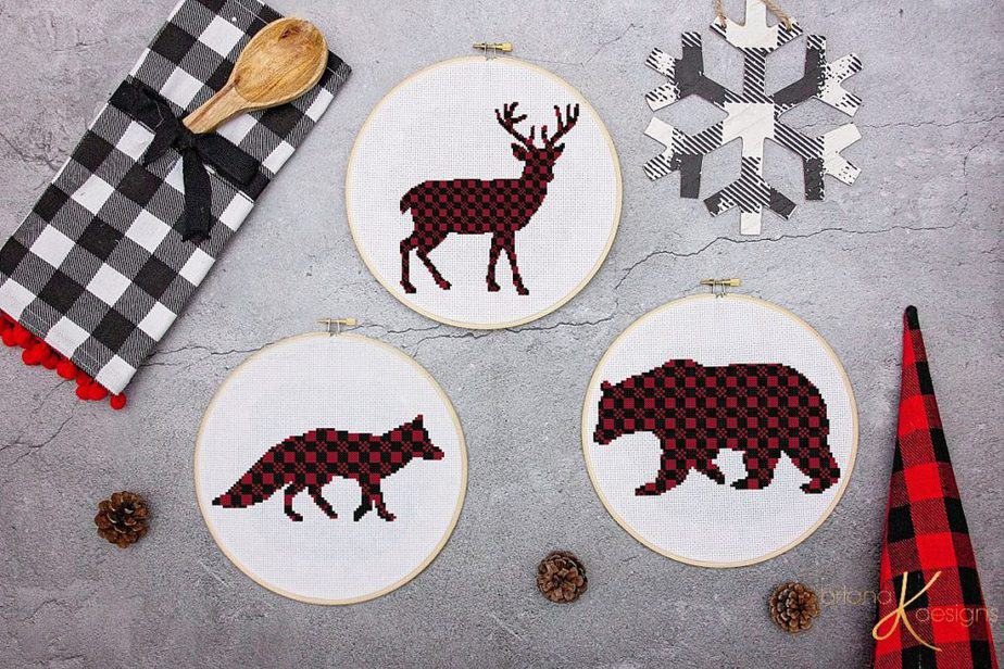 Plaid Animal Bear Fox Deer Cross Stitch Free Pattern by Briana K Designs
