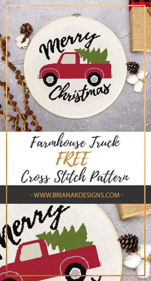 Farmhouse Truck Free Cross Stitch Pattern Christmas by Briana K Designs
