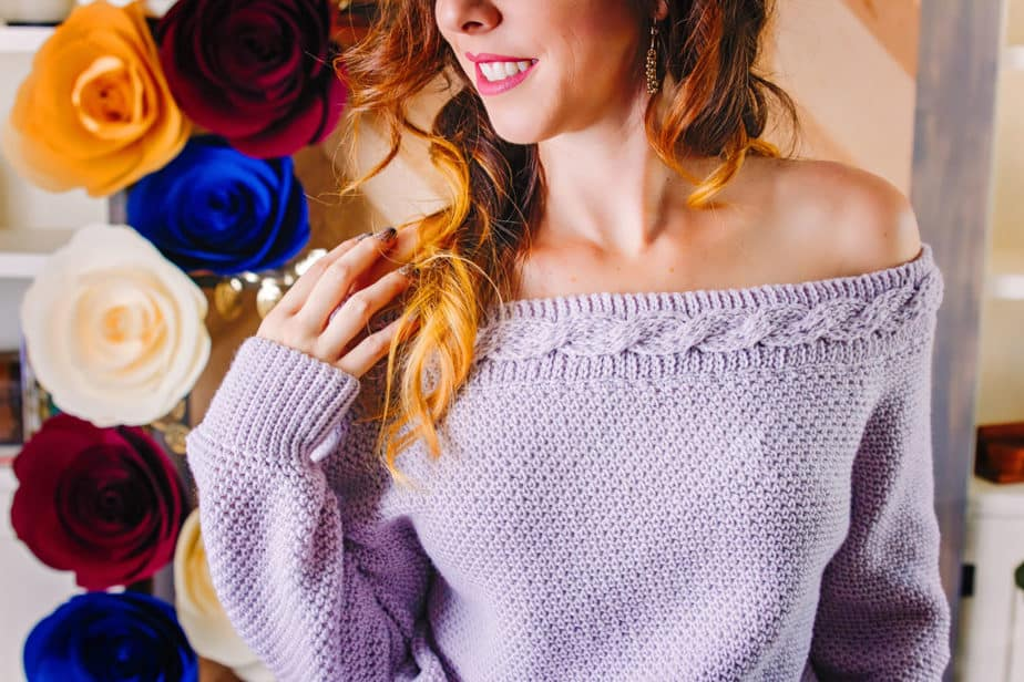 Valencia Infinity Crochet Cable Sweater by Briana K Designs