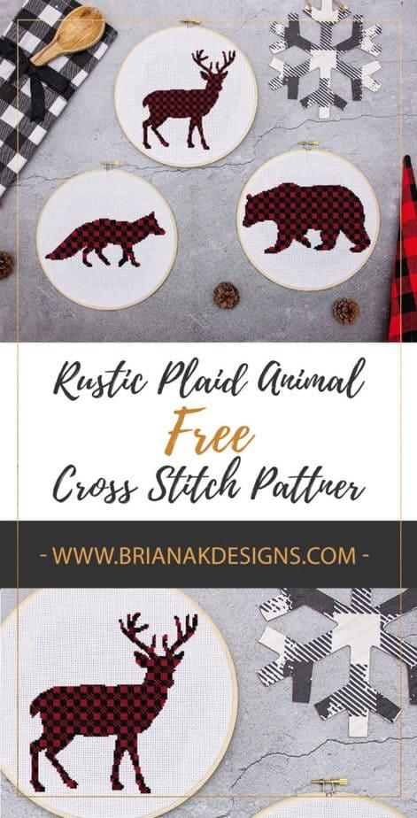 Plaid Deer Bear Fox Rustic Animal Free Cross Stitch Pattern by Briana K Designs