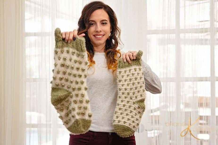 Polka Dot Stocking Knit Crochet Pattern by Briana K Designs