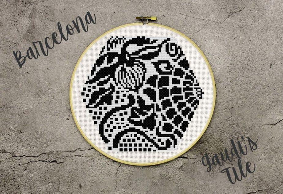Gaudi's Barcelona Tile Cross Stitch by Briana K Designs