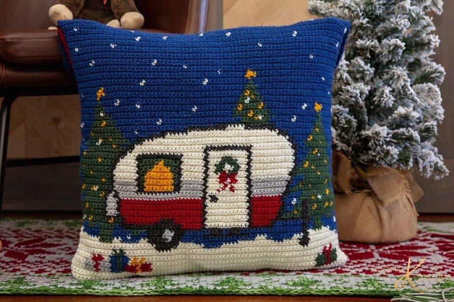 Holiday Camper Pillow Cover by Briana K Designs