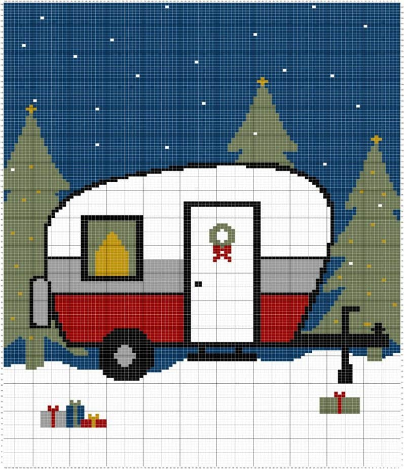 Holiday Knit Camper Pillow Cover by Briana K Designs
