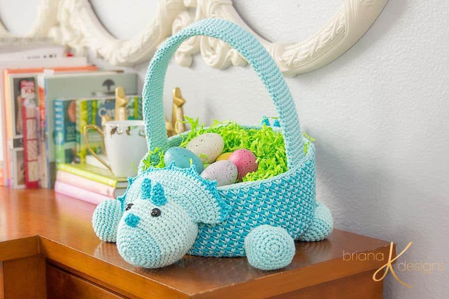 Dinosaur Crochet Easter Basket by Briana K Designs