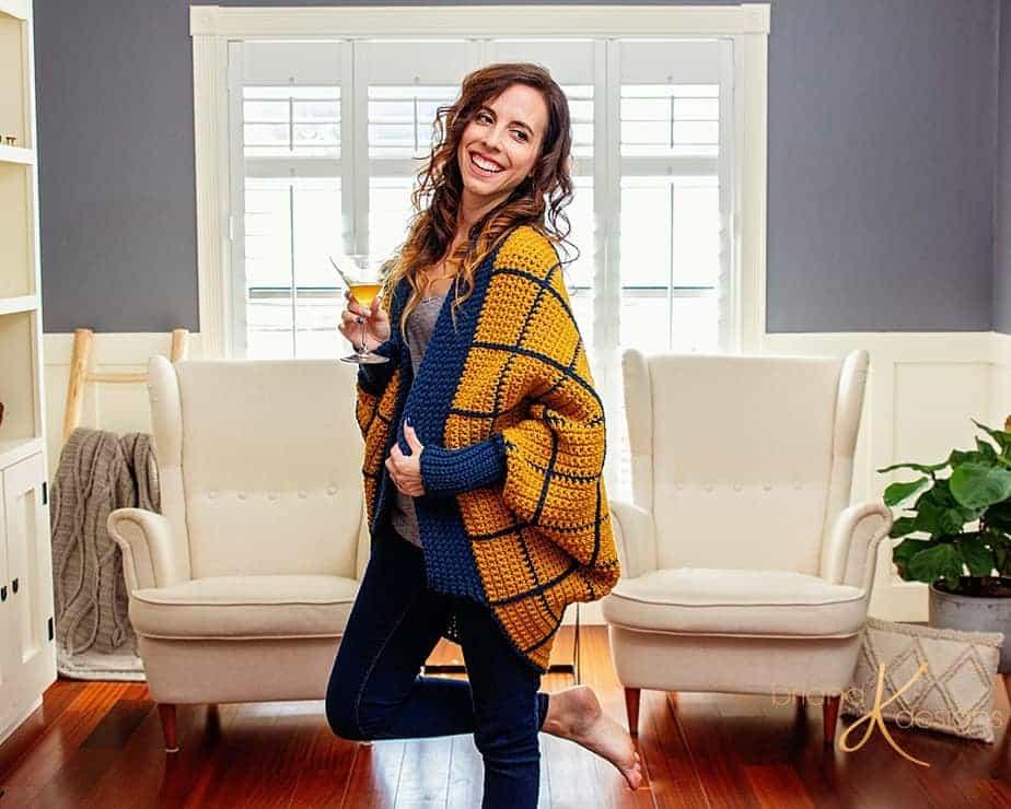 Windowpane Cocoon Knit Crochet Wrap by Briana K Designs_0026
