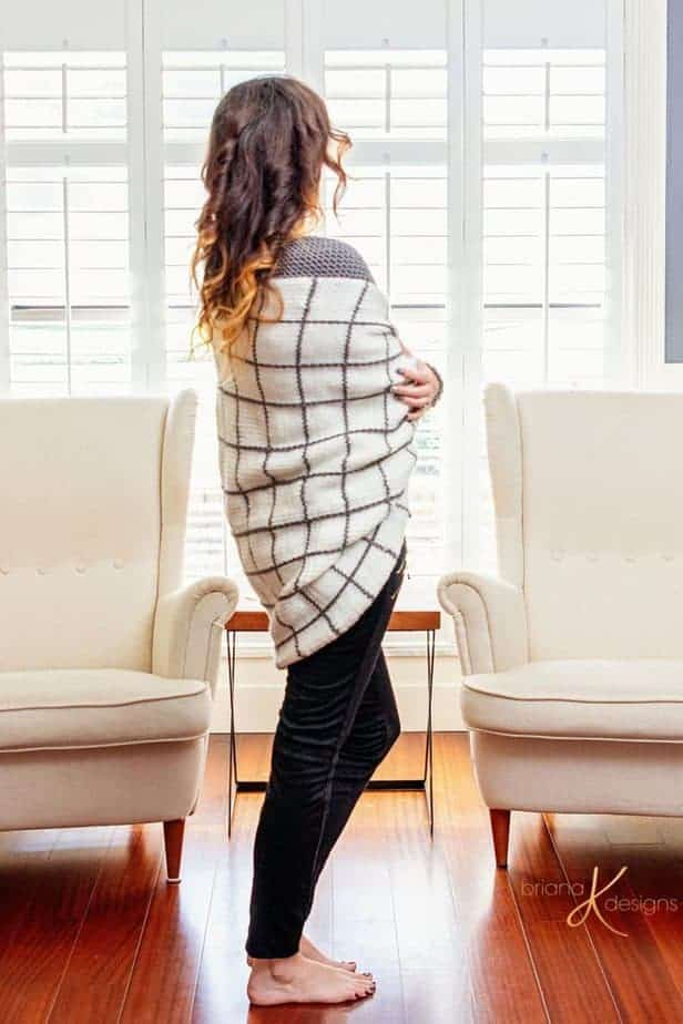 Windowpane Cocoon Knit Crochet Wrap by Briana K Designs_0029