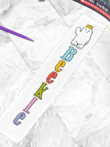 beekle cross stitch bookmark