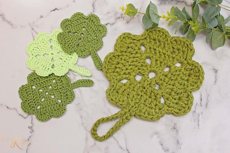 Shamrock St. Patrick Crochet Pot Holder by Briana K Designs