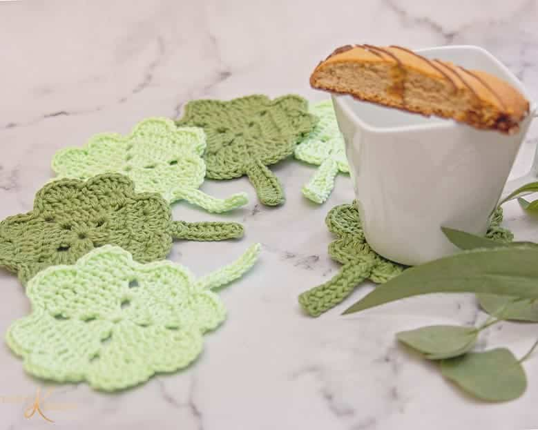 Shamrock St. Patrick Crochet Coaster by Briana K Designs