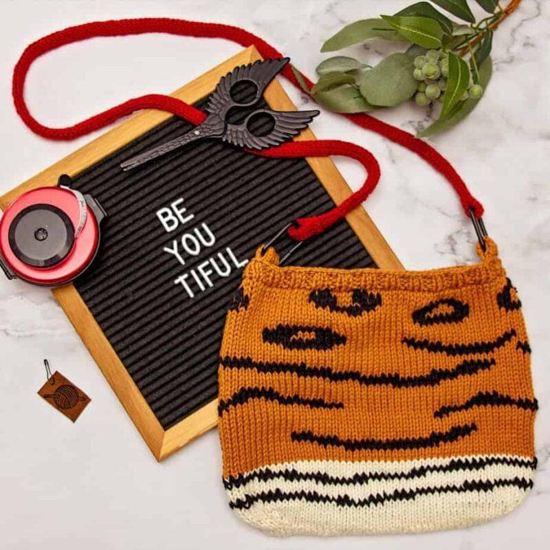 Animal Print Knit Bag