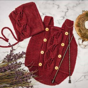 knit baby romper and bonnet pattern