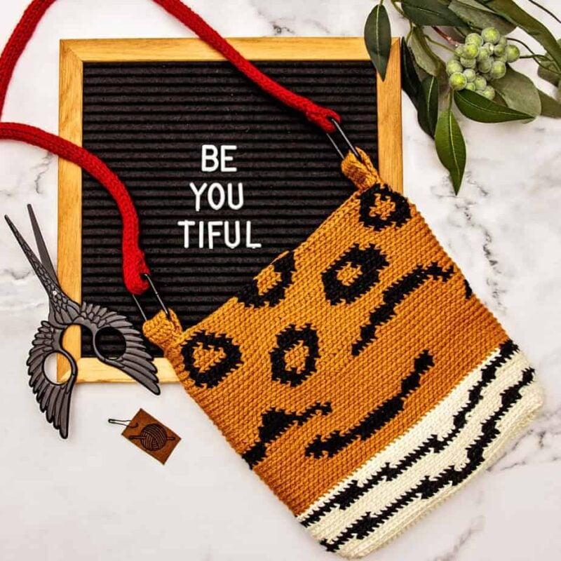 animal print crochet bag