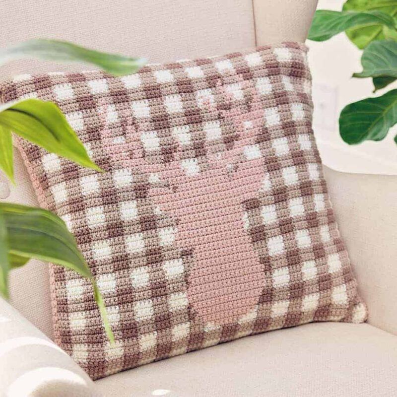 spring deer plaid pillow cover