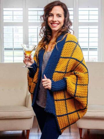 windowpane cocoon crochet wrap