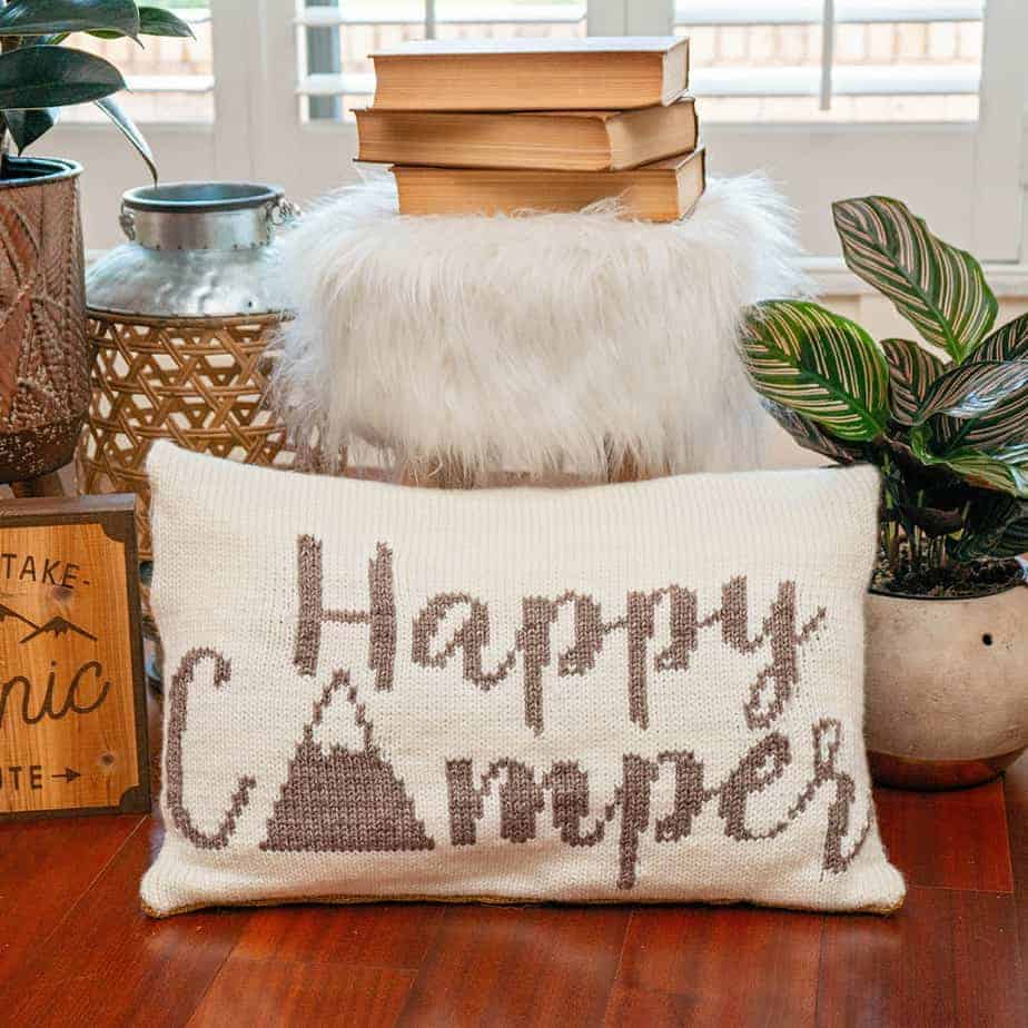Happy Camper Knit Pillow