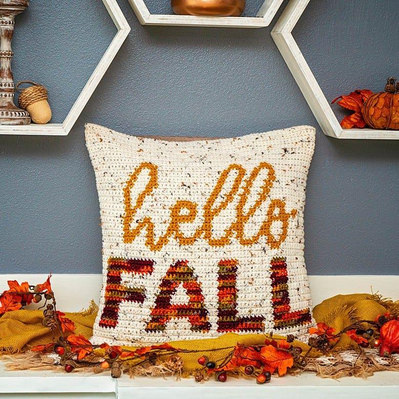 Hello Fall Crochet Pillow