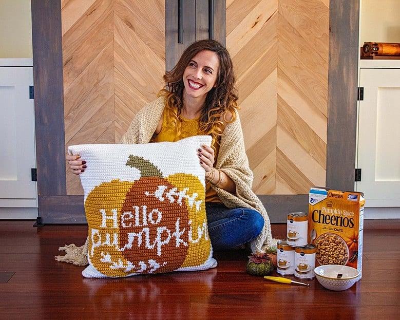 hello pumpkin crochet pillow