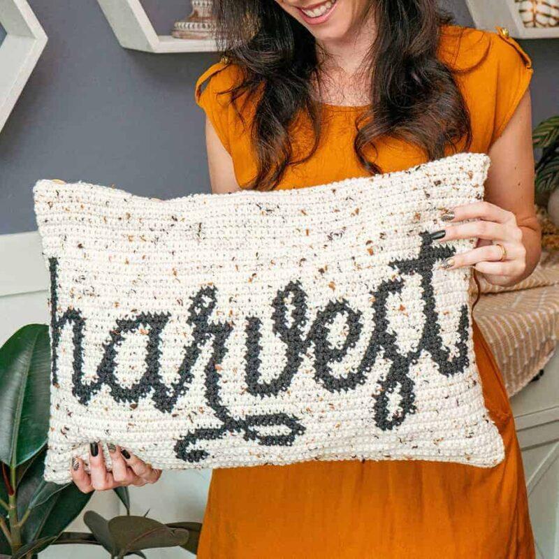 Harvest Crochet Pillow cover