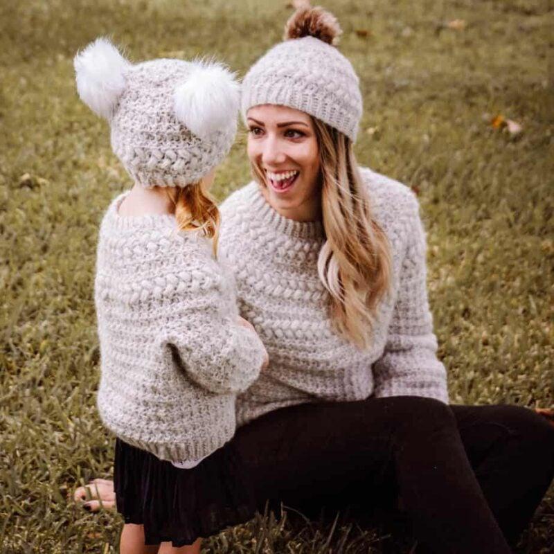 macchiato crochet sweater and beanie
