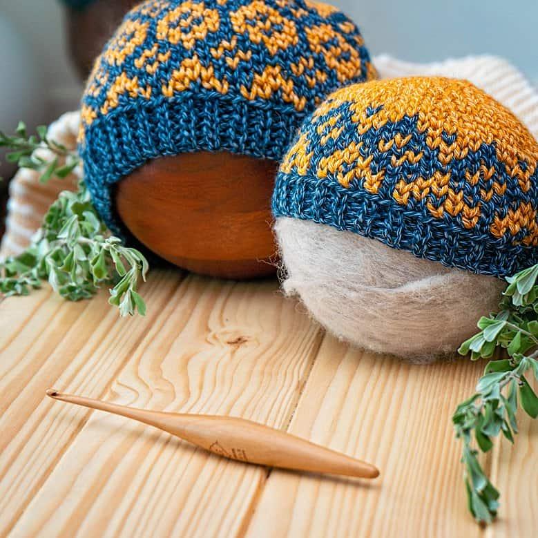 Diamond Fair Isle crochet beanie