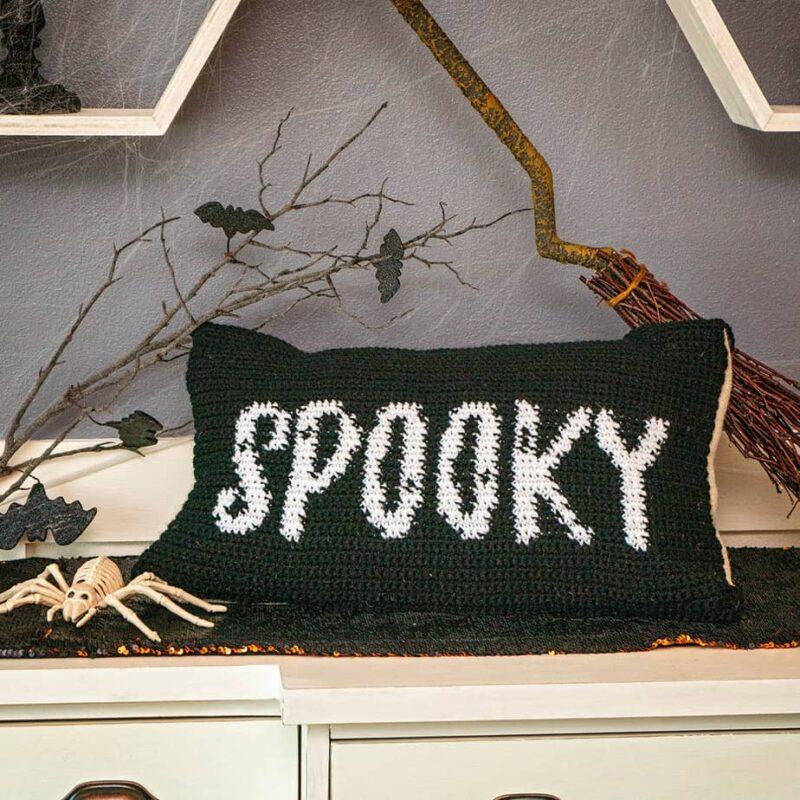 Spooky Crochet Pillow Cover