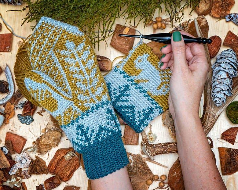 Squirrel Mitten Fair Isle Crochet Pattern