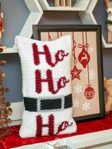 Ho Ho Ho Crochet Pillow