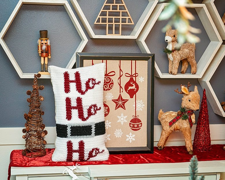 Ho Ho Ho Crochet Pillow Cover