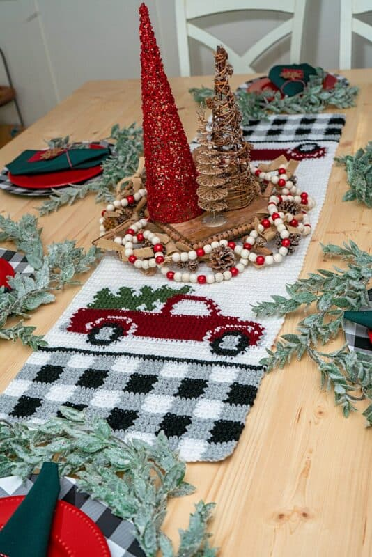 Red Christmas Truck Table Runner