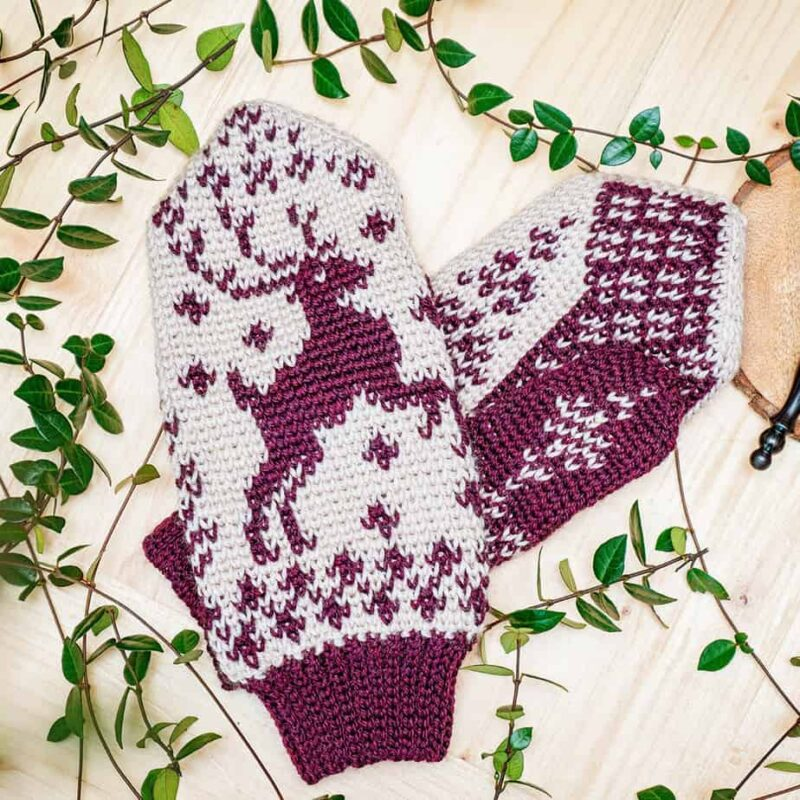 Deer Fair Isle Crochet Mittens
