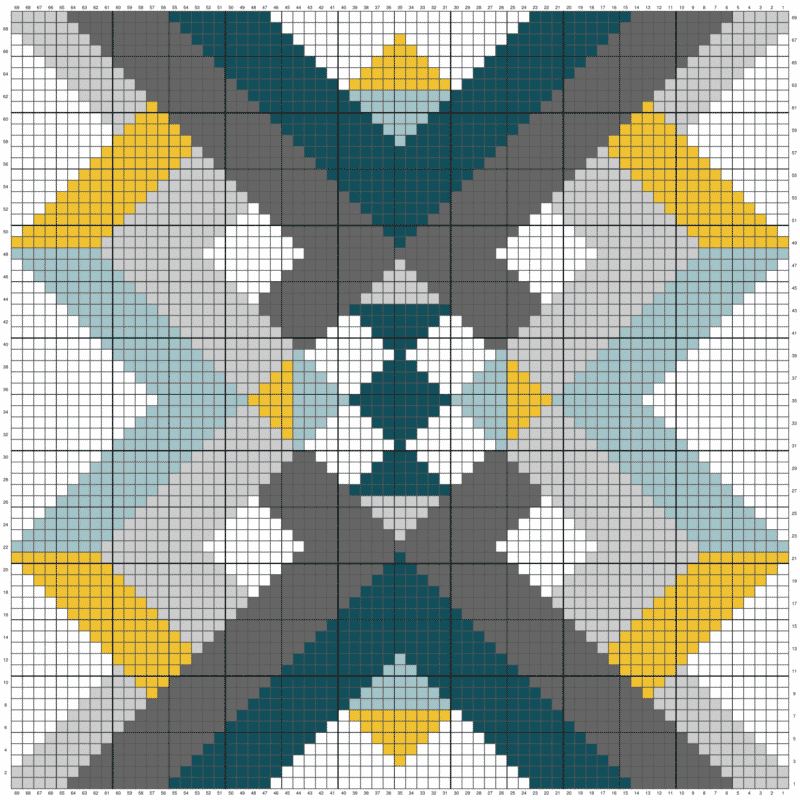 a block image of colors with rows and numbers